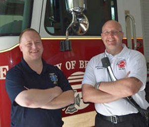 Deputy Fire Chief Joe Murray and Dr. James MacNeal. (Photo courtesy Beloit Daily News)