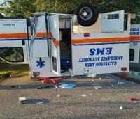 Texas ambulance flips in two-vehicle crash