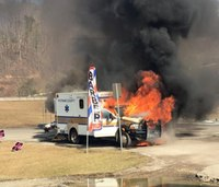 Ambulance catches on fire in W.Va.