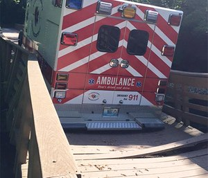 No one was hurt in the partial bridge collapse. (Photo/St. Charles County Ambulance District)