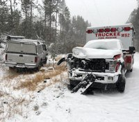 Calif. ambulance struck amid several crashes on snowy roads