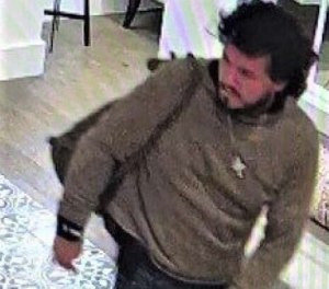 This image taken from a surveillance camera and provided by the San Luis Obispo County Sheriff's Office seeking the public's assistance in finding a suspect believed to be responsible for a shooting that took place in Paso Robles, Calif. in the morning on Wednesday, June 10, 2020. (San Luis Obispo County Sheriff's Office via AP)