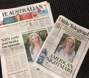 Front pages of two Australian newspapers on Tuesday, July 18, 2017, featuring photos and story of the shooting death of Australia's Justine Damond.