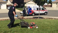 Photo of EMT mowing patient's lawn goes viral