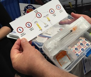 The King County EMS epinephrine injection kit. (Photo by Greg Friese)