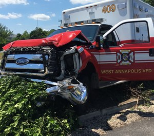 Police are searching for a woman they say stolen an ambulance from the Anne Arundel County Fire Department's West Annapolis station and then crashed it into another vehicle before fleeing.