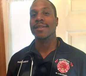Paramedic Anthony Jackson, who was shot and killed in 2017, dreamed of becoming a firefighter. A fire academy scholarship in his honor was presented Wednesday by his mother Janice to Kenneth Brown Jr., who will attend St. Louis County Fire Academy. (Photo/GoFundMe)