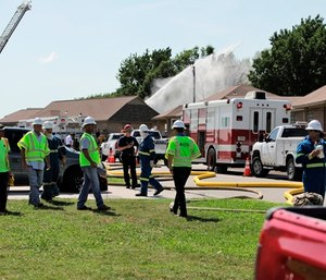 Capt. Greg Delozier was among five people injured in an explosion after a natural gas pipeline ruptured. (Photo/AP)