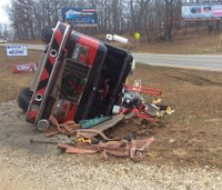 Mo. aerial totaled in crash, 2 firefighters hurt