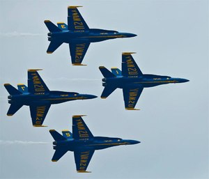 The U.S. Navy Blue Angels arrive at Marine Corps Air Station Cherry Point, N.C., April 28, during the 2016 MCAS Cherry Point Air Show
