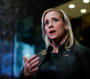 In this Thursday, Nov. 17, 2016, file photo, Arkansas Attorney General Leslie Rutledge speaks to reporters at Trump Tower, in New York. (AP Photo/Carolyn Kaster, File)