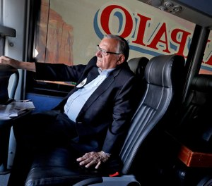 In this Aug. 23, 2018, file photo U.S. Senatorial candidate and former Maricopa County Sheriff Joe Arpaio rides on his campaign bus in Phoenix. (AP Photo/Matt York, File)