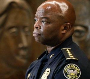 Interim Atlanta Police Chief Rodney Bryant speaks to the Associated Press on Thursday, June 18, 2020, in Atlanta. (AP Photo/Brynn Anderson)