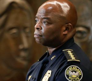 Interim Atlanta Police Chief Rodney Bryant speaks to the Associated Press on Thursday, June 18, 2020, in Atlanta.