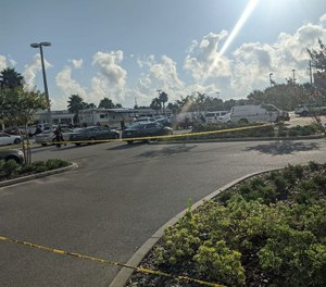 The parking lot and crime scene where an Atlantic Beach police officer was beaten unconscious July 16, 2020. (Photo/Atlantic Beach Police Department)
