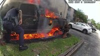 Video: Austin cops defy flames, rescue man moments before truck explodes