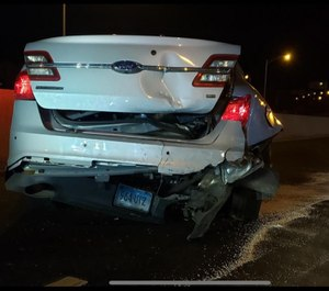 A state police cruiser was rear-ended by a Tesla on auto-pilot early Saturday morning. (Photo/Connecticut State Police)