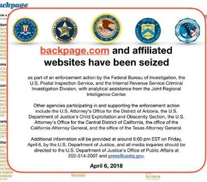 This Friday, April 6, 2018 image shows an FBI notice on the Backpage.com website.