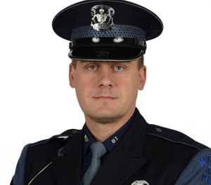Trooper Joseph Ballone was honored for saving a woman from a potentially lethal overdose. (Photo/Michigan State Police)