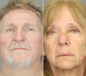 These undated file booking photos provided by the Tucson Police Department show 56-year-old Blake Barksdale, left, and his 59-year-old wife Susan Barksdale. (Tucson Police Department via AP, File)