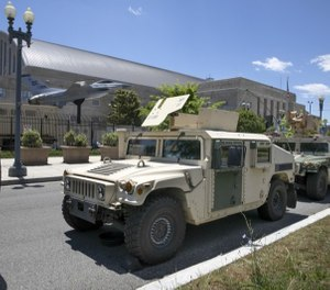 Vehicles for the District of Columbia National Guard are seen outside the D.C. Armory, Monday, June 1, 2020, in Washington. (AP Photo/Jacquelyn Martin)