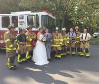 Firefighters help bride, groom get to wedding reception