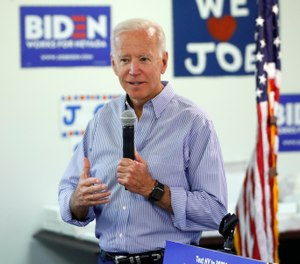 n this July 20, 2019, photo, former Vice President and Democratic presidential candidate Joe Biden speaks at a campaign event in an electrical workers union hall in Las Vegas. (AP Photo/John Locher)