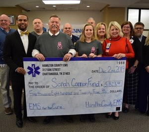 Hamilton County EMS presented a check to the Sarah Cannon Cancer Center in the amount of $5,823.00.