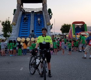 IPMBA member and California POST Bike Patrol Instructor Clint Sandusky – who honorably retired from the Riverside Community College District Police Department – continues to work bike patrol for his church. Sandusky is pictured at the Summer Bible Blast event at my church. (Photo/Clint Sandusky)