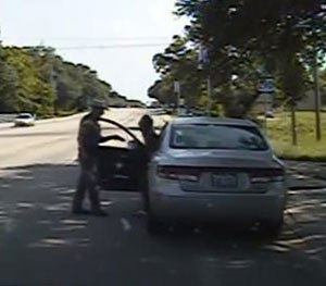 Frame from dashcam video provided by the Texas Department of Public Safety on  July 10, 2015.
