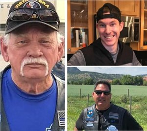 Jerry Wayne Harbour (left), Michael White (top right) and Joseph Paglia were killed by a driver suspected of DUI while riding with the Thin Blue Line motorcycle club July 18, 2020 near Kerrville, Texas.