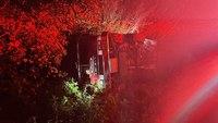 Fla. fire engine rolls over en route to fire