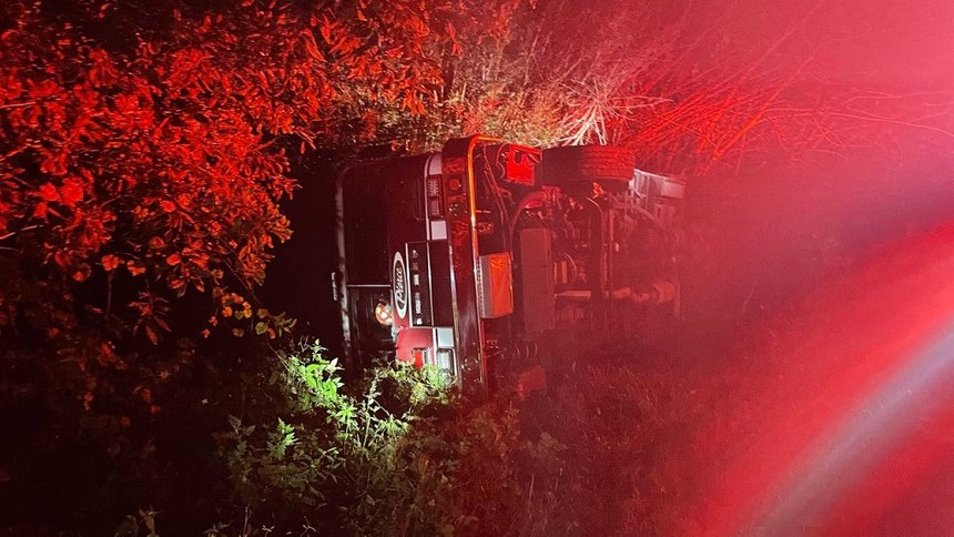 A Bonita Springs fire engine flipped over while en route to a fire scene on Wednesday.