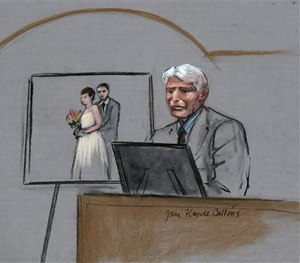 In this courtroom sketch, William Campbell, Jr., father of Boston Marathon bombing victim Krystle Campbell, is depicted on the witness stand. (AP Image)
