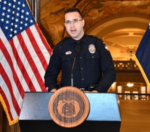 Jefferson City Police Department officer Jeremy Bowman, who is president of the Jefferson City chapter of the Fraternal Order of Police, speaks during Missouri Gov. Mike Parson's COVID-19 press briefing Tuesday, April 7, 2020. (Photo/Missouri Governor's Office)