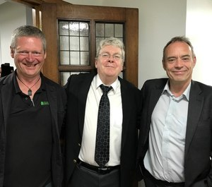 Gary Strong, National CPD Lead for the UK College of Paramedics; Prof. Brian Maguire; and Prof. Andy Newton; at a College of Paramedics presentation in London.