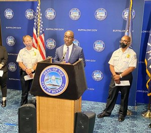 Buffalo Mayor Byron Brown at a press conference announces that Buffalo Police's new behavioral health unit will begin October 2020.