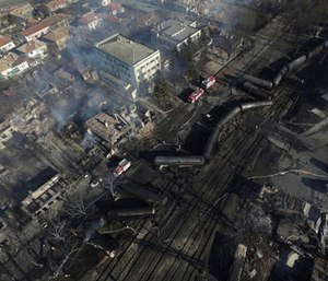 In this aerial view emergency services attend the scene of devastation after a tanker train derailed and a gas tank exploded in the village of Hitrino, northeastern Bulgaria, early Saturday, Dec. 10, 2016.   (Petar Petrov / Sky Pictures Bulgaria via AP)