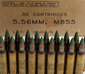 Green tip, M855 5.56mm ammunition.