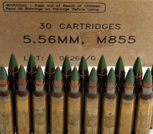 Green tip, M855 5.56mm ammunition is photographed Monday, March 2, 2015, in Fort Washington, Md. (AP Image)