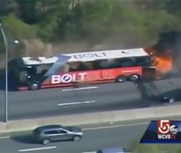Video: Bus bursts into flames on Mass. turnpike