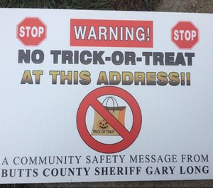 """""""No Trick-or-Treat"""" signs posted on sex offender's doors last Halloween have become the subject of a lawsuit against the Butts County Sheriff's Department. (Photo/BCSD)"""