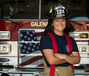 Cadie-Marie Stapleton, 18, of Galena, has changed the course of history, becoming the first female volunteer firefighter with the Galena Fire Department. (Photo/City of Galena)