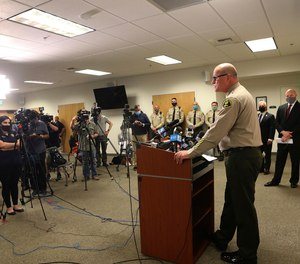 Santa Cruz County Sheriff Jim Hart speaks during a news conference Monday, June 8, 2020, in Santa Cruz, Calif., about the killing of Santa Cruz County Sheriff's Sgt. Damon Gutzwiller.