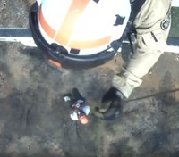 Video: Highway patrol helicopter rescues firefighters from Calif. wildfire