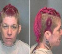 Ill. woman's mug shot displays breast cancer ribbon hairdo
