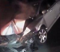Body cam: Ill. ambulance hit by car on crash scene; 2 hurt