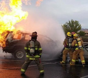 When a vehicle is fully involved (total loss) and there are no lives to save, we can afford to take a more cautious approach.