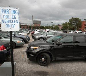 A Ford Explorer based Police Interceptor sits in a police station parking lot on August 4, 2017 in Chicago, Illi. (Scott Olson/Getty Images/TNS)