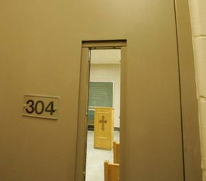 The entrance to a prison chapel is seen at the maximum security Howard Prison state prison, in Cranston, R.I., Aug. 16, 2007.